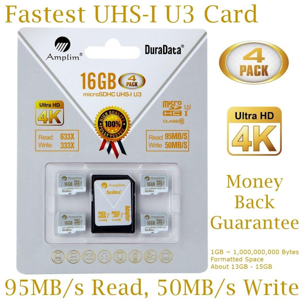 4-Pack 16GB Micro SDHC U3 Card Plus SD Adapter. Amplim Extreme Pro Class 10 UHS-I MicroSDHC 95MB/s Read, 50MB/s Write. Ultra High Speed HD UHD 4K Video. Internal/External MicroSD Flash Memory Storage