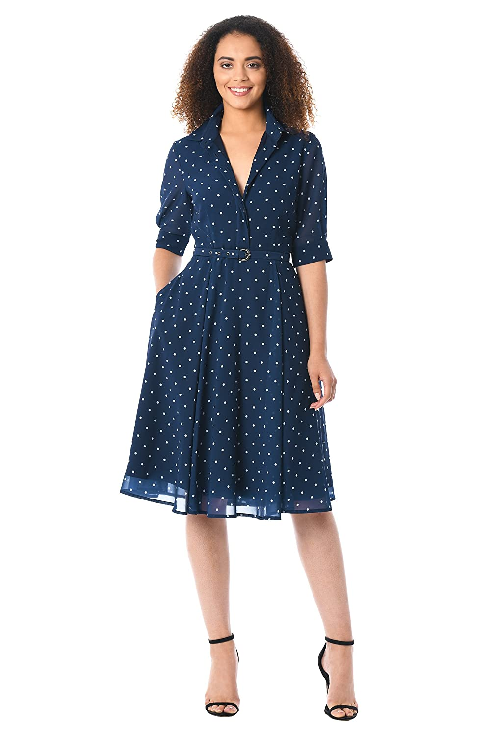 Vintage Tea Dresses, Floral Tea Dresses, Tea Length Dresses Polka dot Print Georgette eShakti Womens Belted Shirtdress $69.95 AT vintagedancer.com
