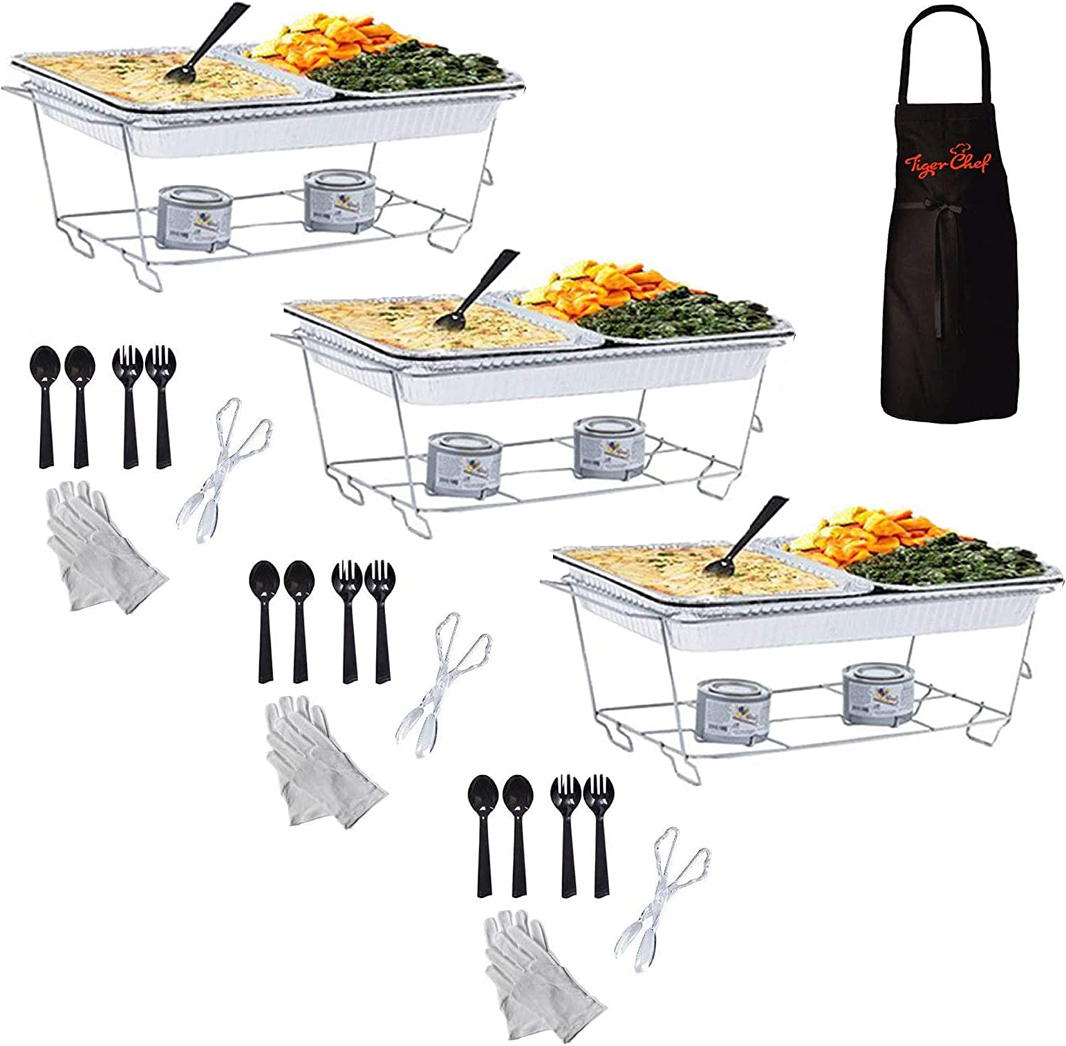 Tiger Chef Chafing Dish Buffet Set Disposable - Full Size Disposable Wire Chafer Stand Kit - Chafing Stands, Fuel Gel Cans, Aluminum Pans, Serving Tong & Utensils (40 Piece)