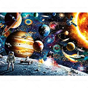 Space Planet DIY 5D Diamond Painting Kit Full Drill Round Diamond Rhinestone Painting Embroidery Cross Stitch Arts Crafts for Home Office Wall Decoration, Fun Gifts for Adults or Kids, 12x16inch