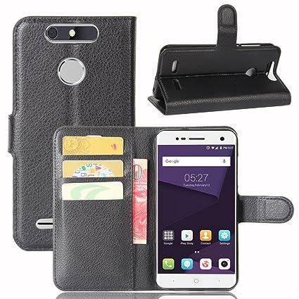 Guran® Funda de Cuero PU Para ZTE Blade V8 Lite Smartphone Función de Soporte con Ranura para Tarjetas Flip Case Cover Caso-negro