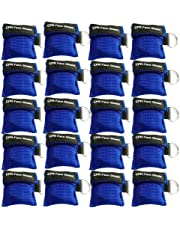 20pcs CPR Face Shield Mask Keychain Emergency Kit CPR Face Shields for First Aid or CPR Training (Blue-20)