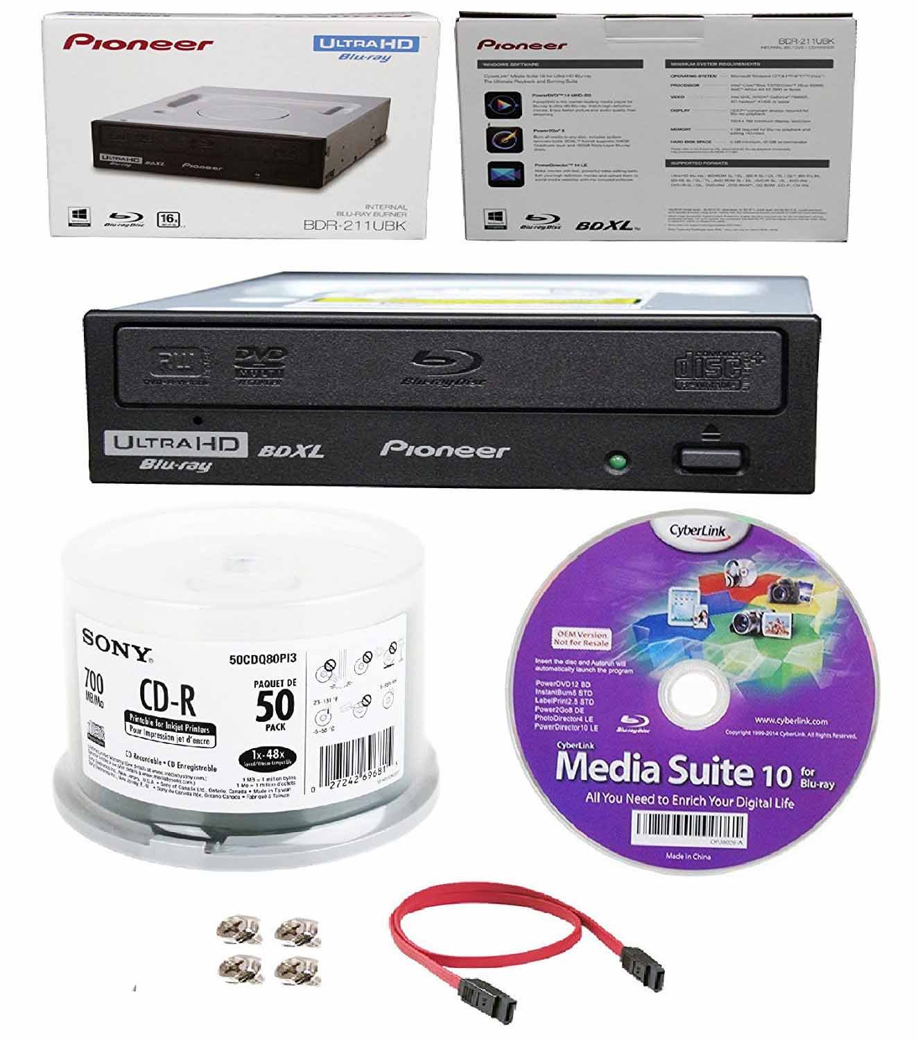 Pioneer 16x BDR-211UBK Internal Ultra HD Blu-ray BDXL Burner, Cyberlink Software and Cable Accessories Bundle with 50pk CD-R Sony 700MB 48X White Inkjet Printable