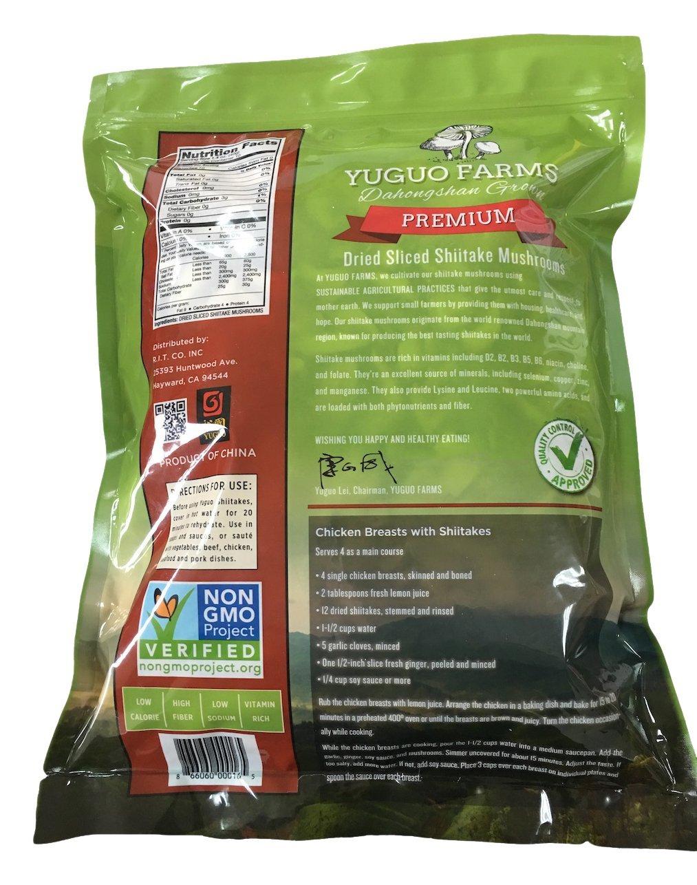 Yuguo Farms Dried Sliced Shiitake Mushrooms 100% Naturally Grown, NON-GMO, 14 oz bag, 10 Pack