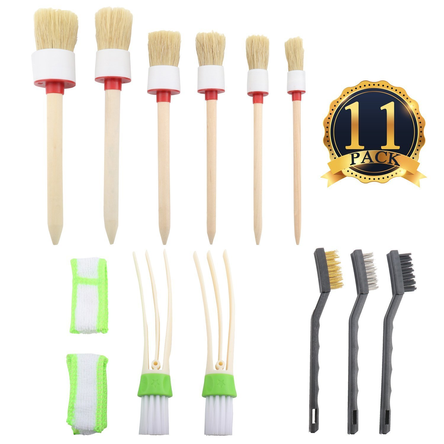 Yooyee Auto Detailing Brush Set, 11 Pcs Car Cleaner Brush Set, Including Soft-bristled Detail Brushes, Cloth Cleaner and Wire Brush, Perfect for Cleaning Wheels, Dashboard, Interior, Exterior, Leather, Air Vents, Emblems