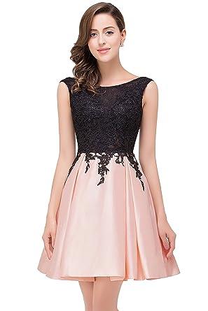 cc51fe608d5 MisShow Damen Abendkleider Kurz Hinten-V-Rückenfrei TAFT Kurz Partykleider  Ballkleid Abendkleid Gr.32-46  Amazon.de  Bekleidung
