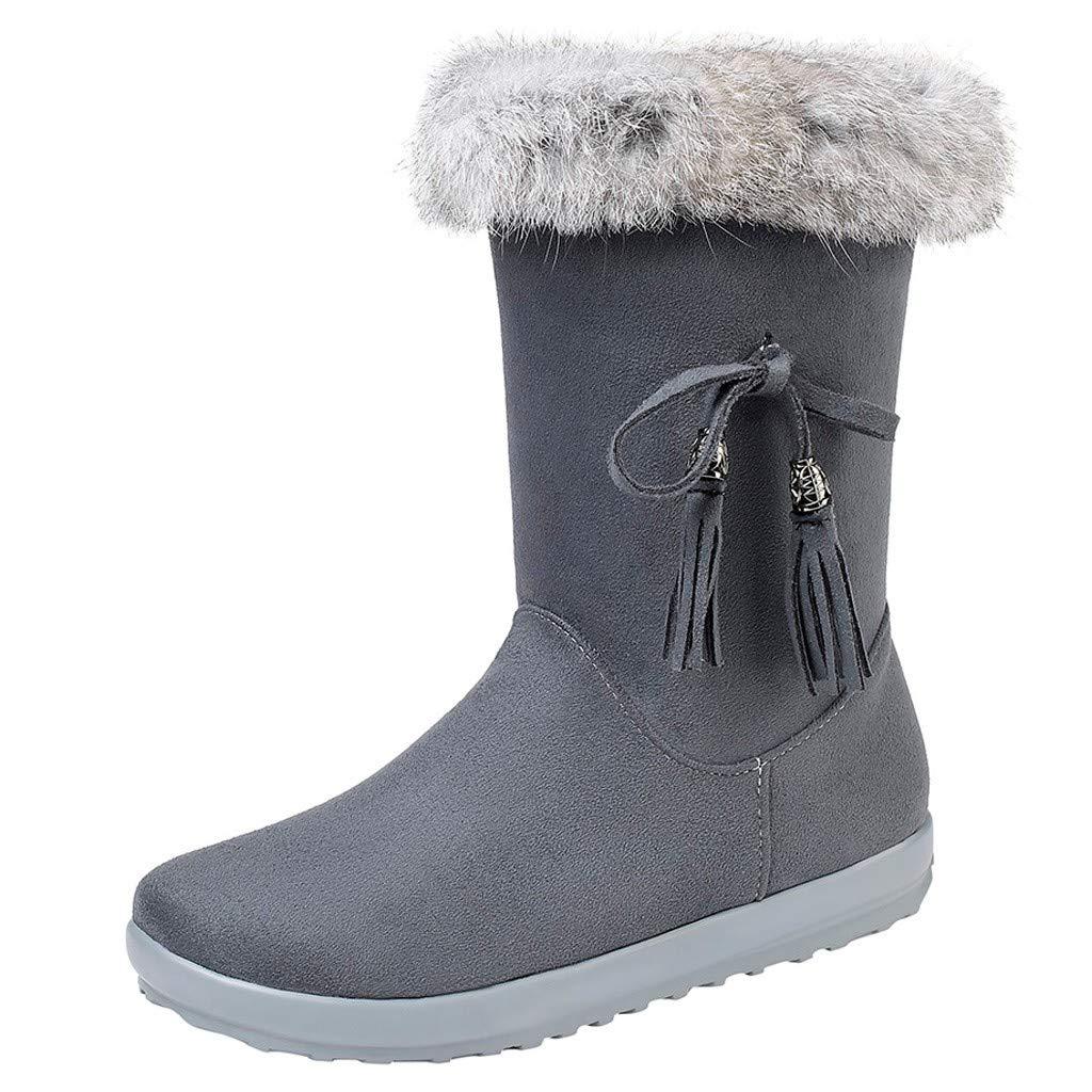 Fheaven Fashion Snow Boots Women Suede Plush Tassel Flat Zipper Mid Boot Keep Warm Snow Shoes Grey by Fheaven-shoes