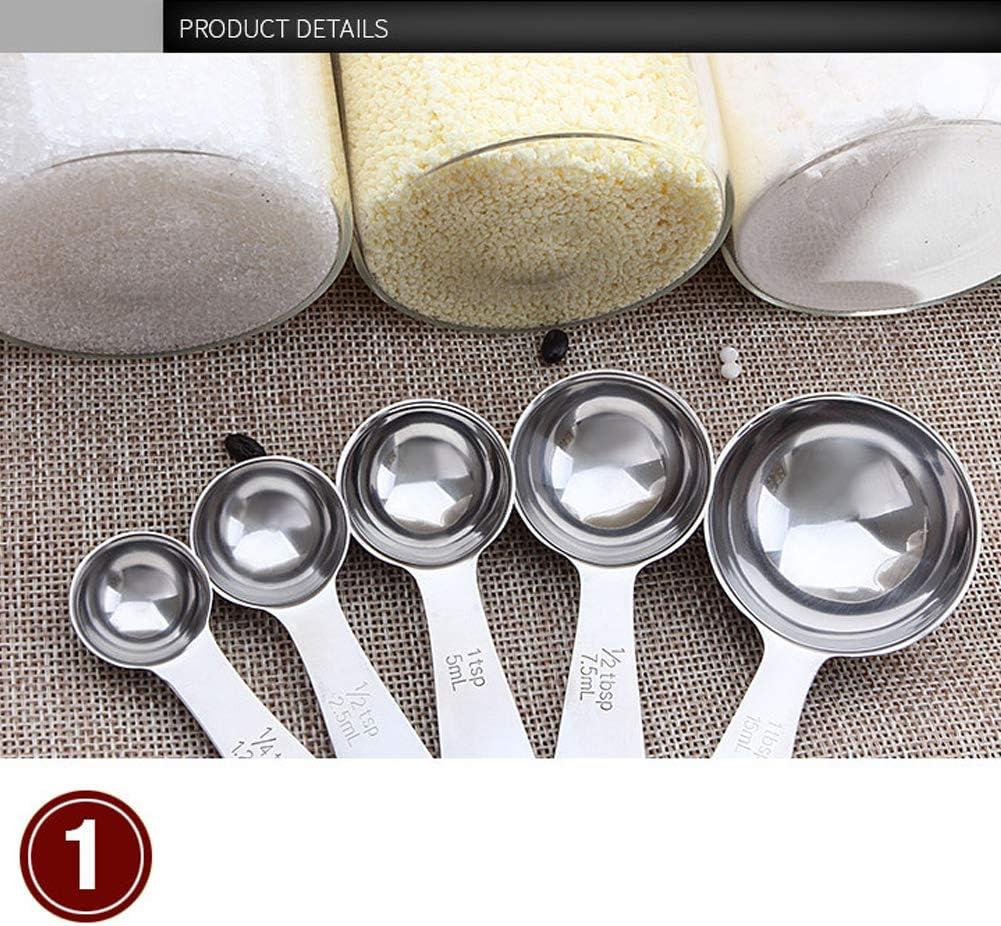 Mioloe 5pcs en Acier Inoxydable cuill/ère /à mesurer Ensemble Outil de Cuisson Cuisine assaisonnement cuill/ère