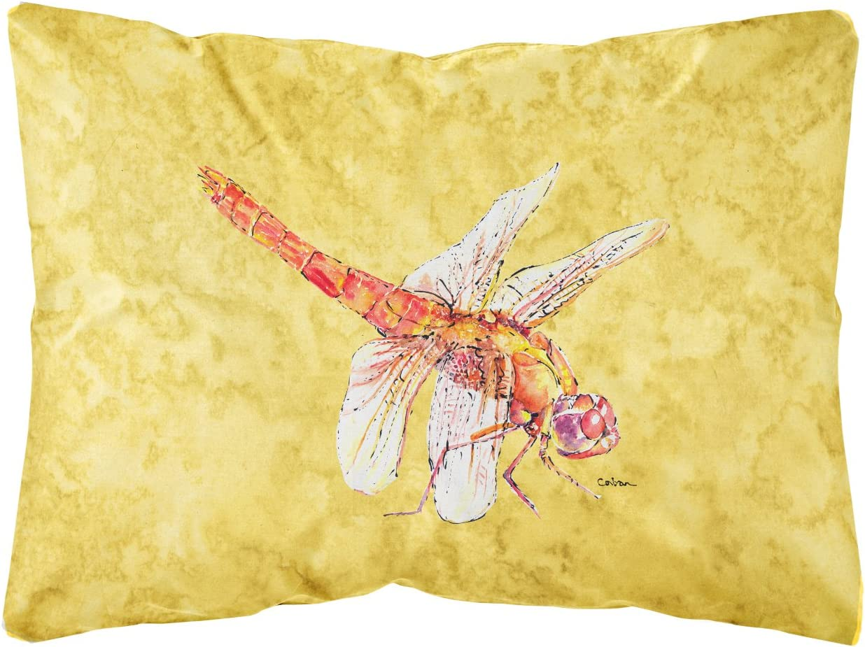 Caroline s Treasures 8866PW1216 Dragonfly on Yellow Canvas Fabric Decorative Pillow, 12H x16W, Multicolor