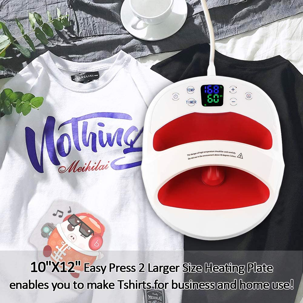M/áquina de prensa de calor M/áquina de impresi/ón de camisetas Easy Press M/áquina de prensa en caliente de manos libres de 30X 25cm