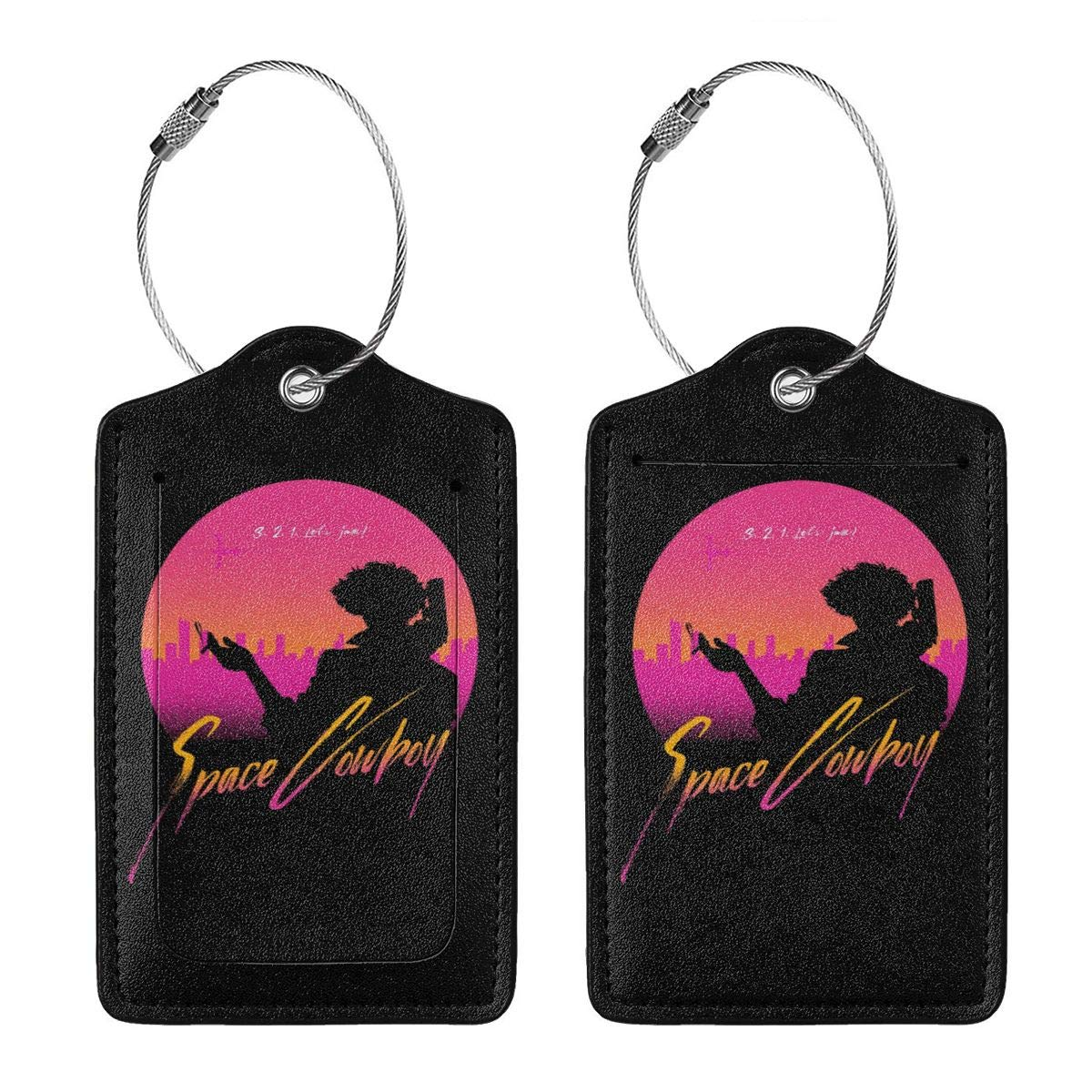 2 Cowboy Bebop 3 Leather Luggage Tag Travel ID Label For Baggage Suitcase 1