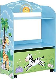Fantasy Fields - Sunny Safari Toy Organizer with Rolling Storage Box, Wooden Toy Storage, TD-13219A