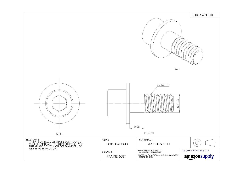 Plain Finish Flange Socket Cap Head 17-4 PH Stainless Steel Prairie Bolt 1//4 Grip Length Pack of 1 5//16-18 Thread Size Hex Socket Drive 0.3125 Shoulder Diameter Made in US