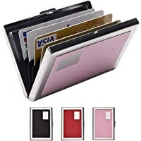 RFID Credit Card Holder Metal Wallet Stainless Steel and Pu Leather Credit Card Protector Case (Pink)