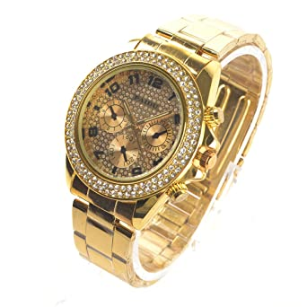 Surewatch Glittering fashion three digital fake gold dial steel quartz watch b97016e8d9