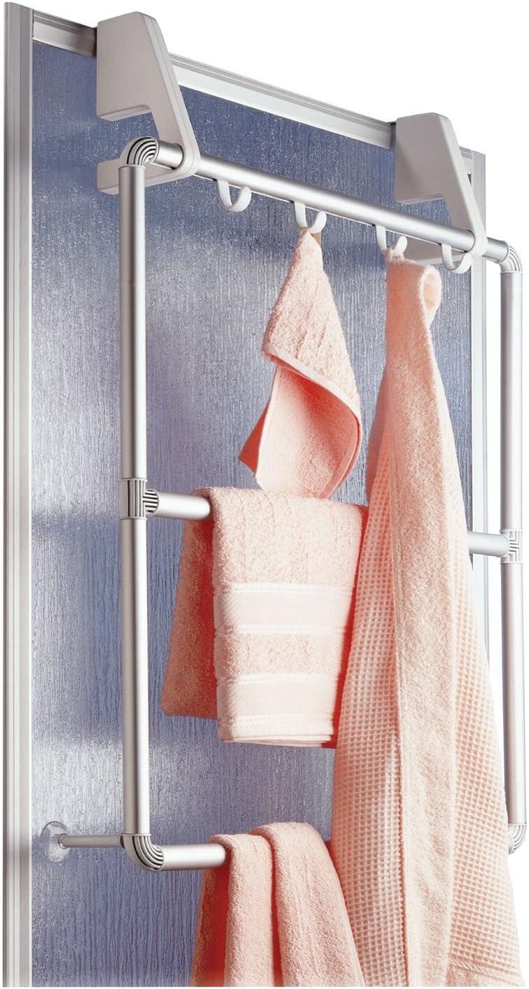 Wenko Handtuchhalter für Tür und Duschkabine pact mit 3 Querstangen und 4 Haken 62 5 x 78 x 14 5 cm silber matt