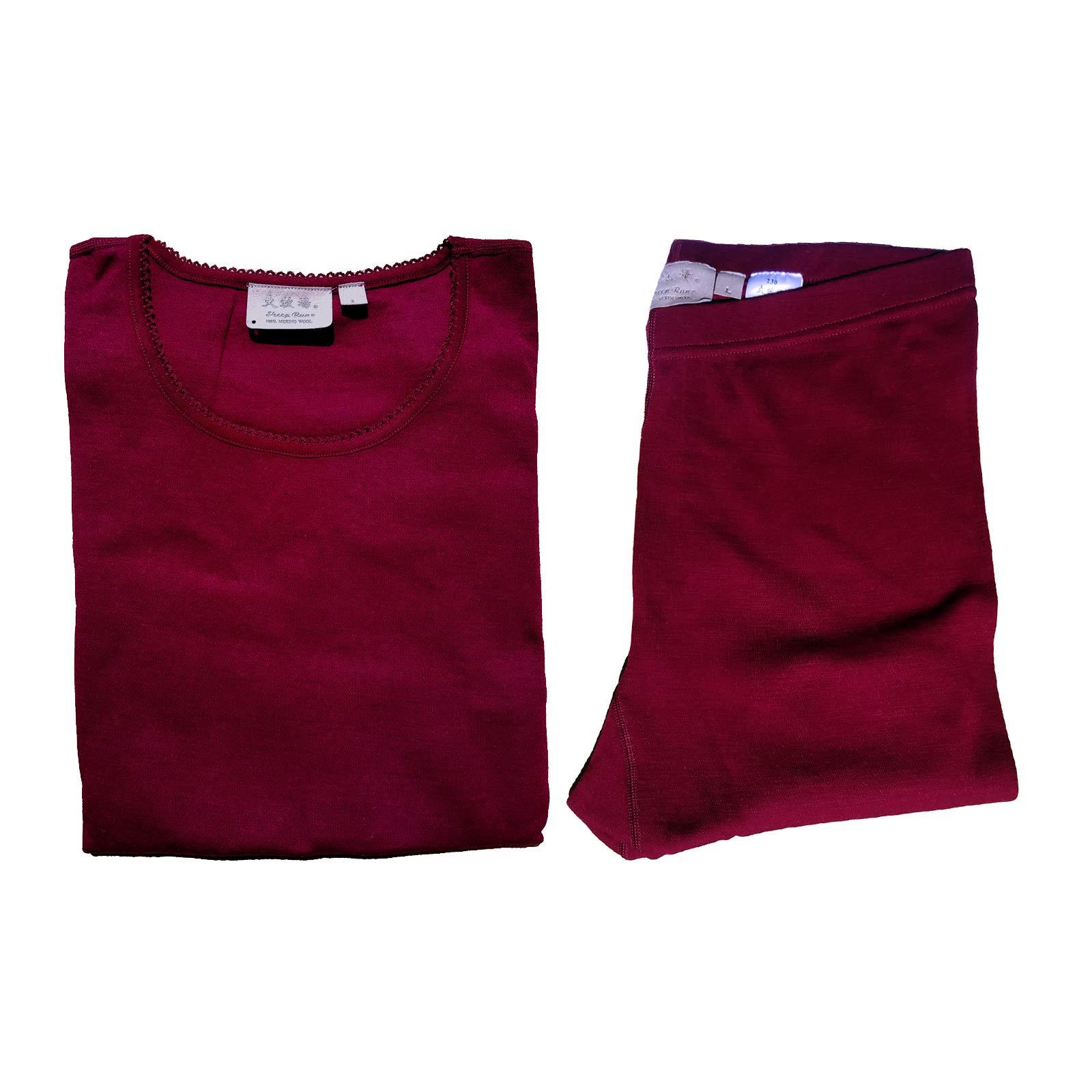 Sheep Run Womens 100% Merino Wool Thermal Underwear Top and Pants (Wine, Small) by Sheep Run