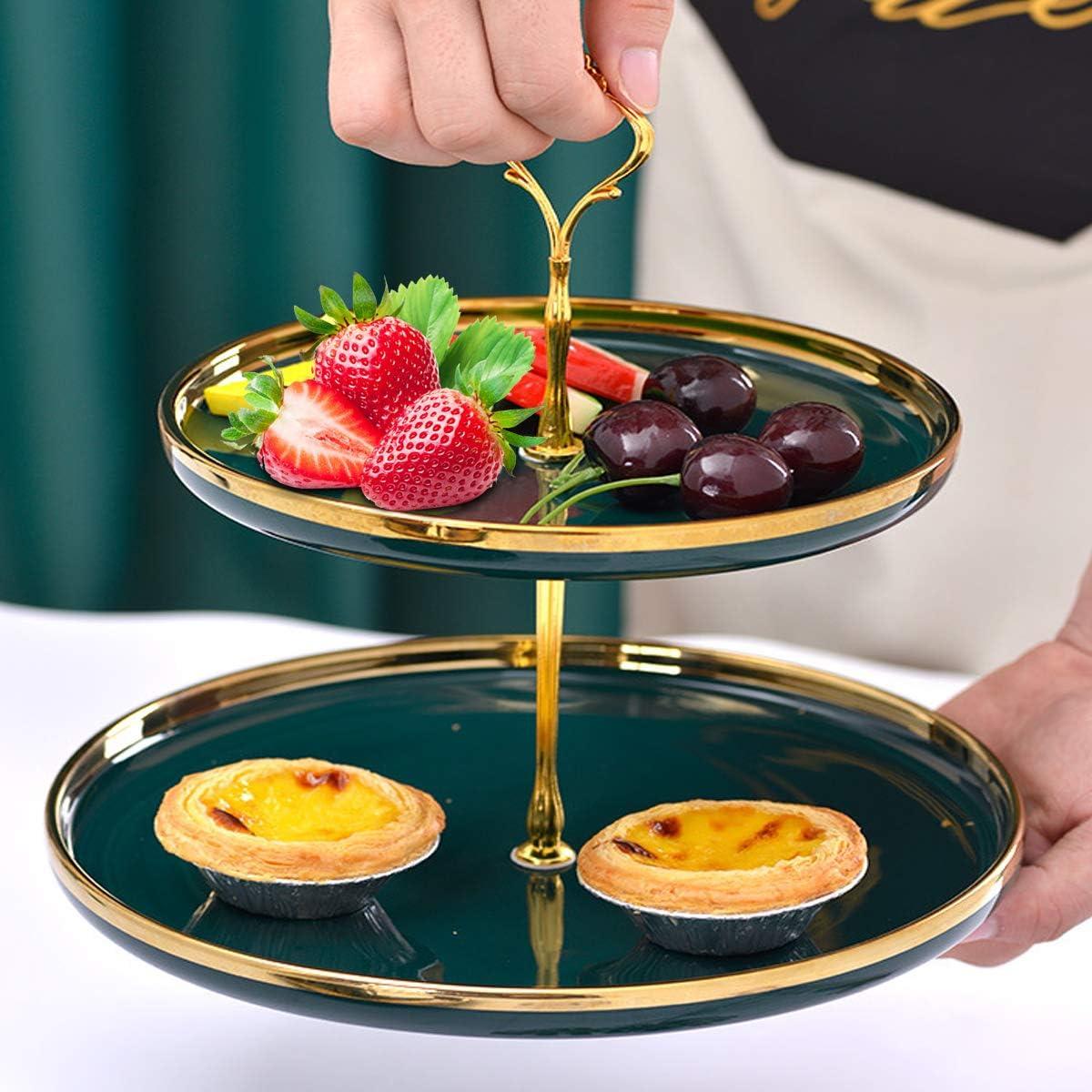 Plato de Postre//Pastel de Dos Capas de Estilo Europeo Verde Oscuro JEANGO Juego de Platos de cer/ámica para Frutas