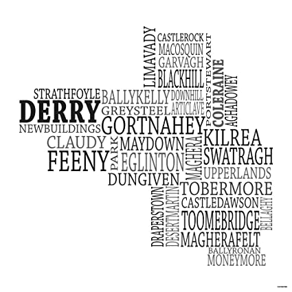 Map Of Ireland Black And White.Amazon Com Typographic Map Of County Derry Ireland 18 X18 Black
