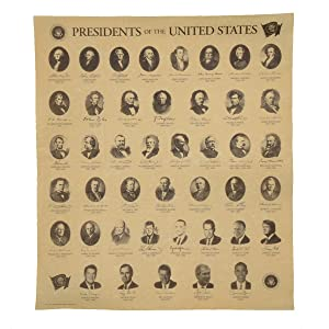 Presidents of the US on Antiqued Parchment Paper Historical Document Poster