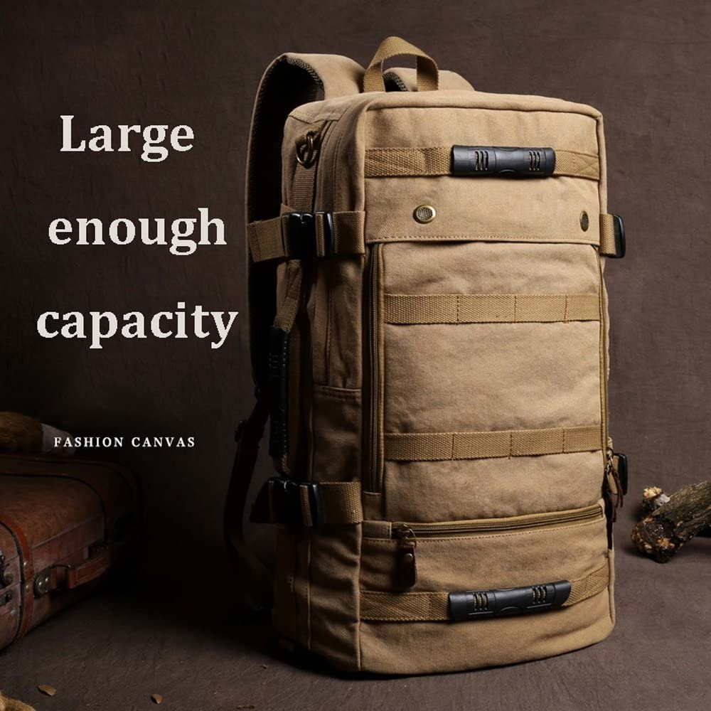 MMPY Outdoor Large-Capacity Travel Bag Portable Canvas Mountaineering Bag Light and Simple Travel Backpack