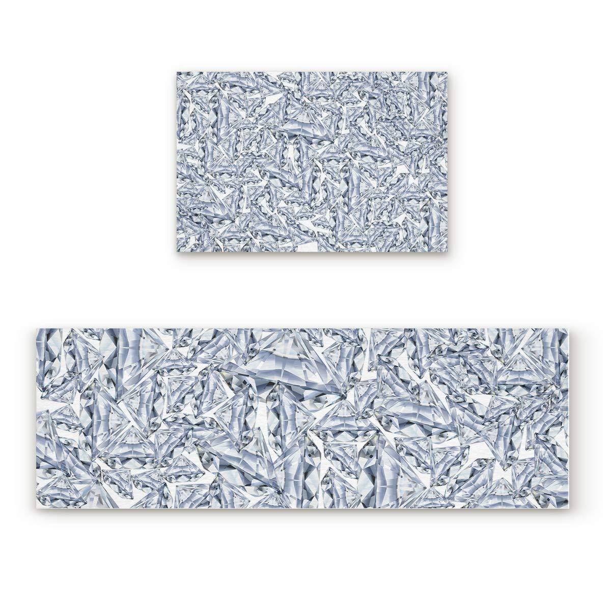 Diamonds 4san0156 19.7 x31.5 +19.7 x47.2  Savannan 2 Piece Non-Slip Kitchen Bathroom Entrance Mat Absorbent Durable Floor Doormat Runner Rug Set - Geometric Pattern