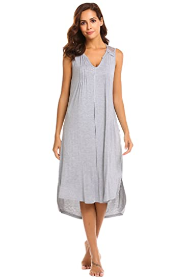 Ekouaer Womens Patricia Cotton Nightgown Long Sleeveless Sleepwear Grey S 24d22b318