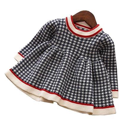 7b0fc2b622d14 ZooArts ベビー服 子供服 ワンピース 女の子 ニット 長袖 ガールズ チェック柄 かわいい おしゃれ 子供ドレス プリーツ