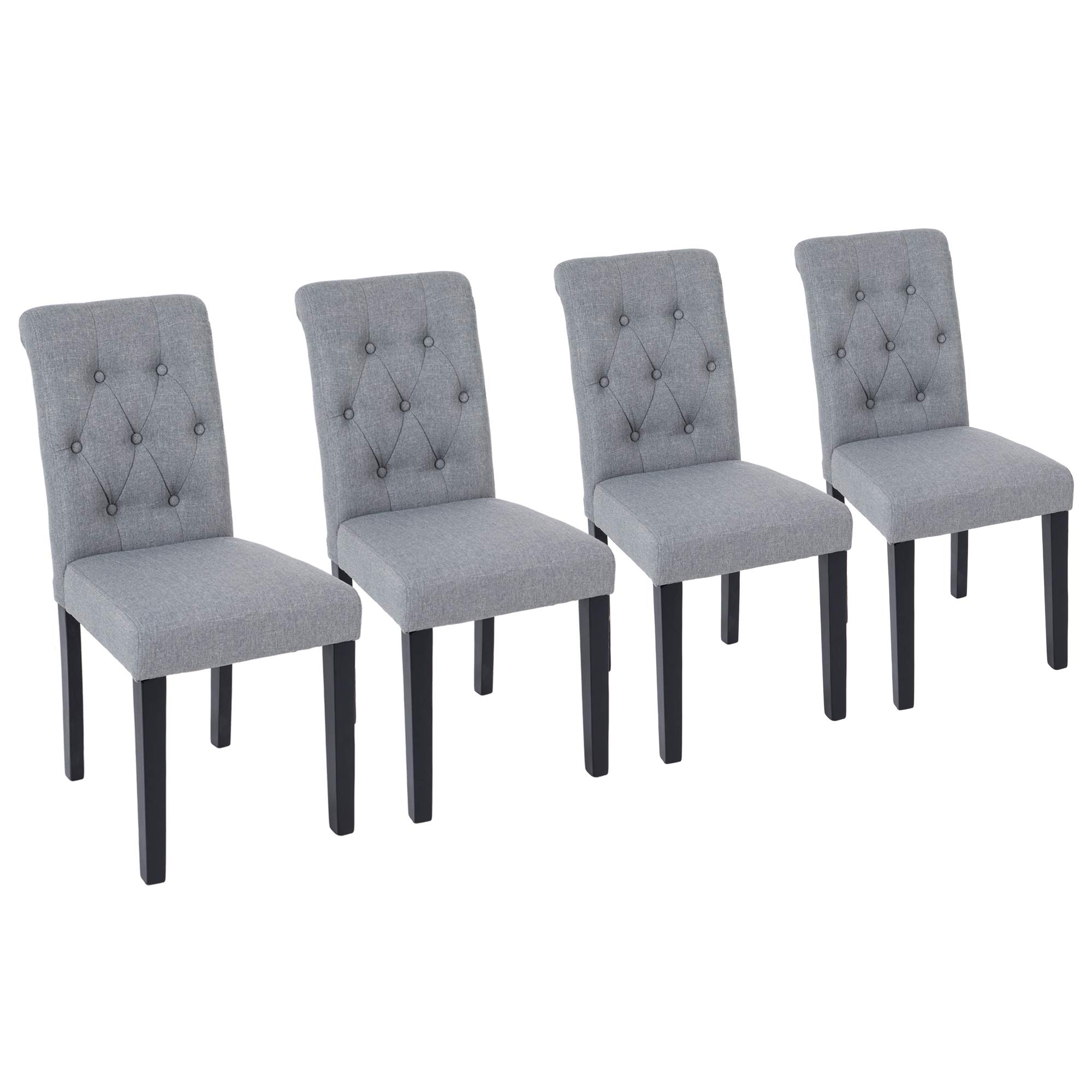 NOBPEINT Fabric Dining Chairs with Solid Wood Legs Set of 4, Gray