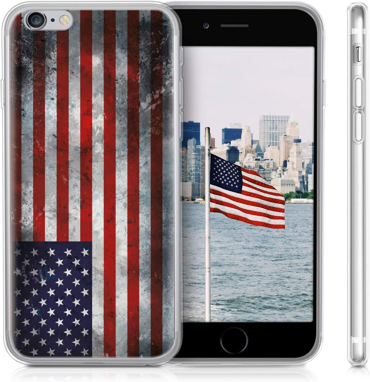 Carcasa de TPU para m/óvil y dise/ño p/étalos Transparentes en Azul Oscuro//Rosa Fucsia//Transparente kwmobile Funda para Apple iPhone 6 6S