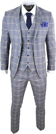 Costume Homme Tweed /à Chevrons Bleu Marine Carreaux 3 pi/èces Style Peaky Blinders