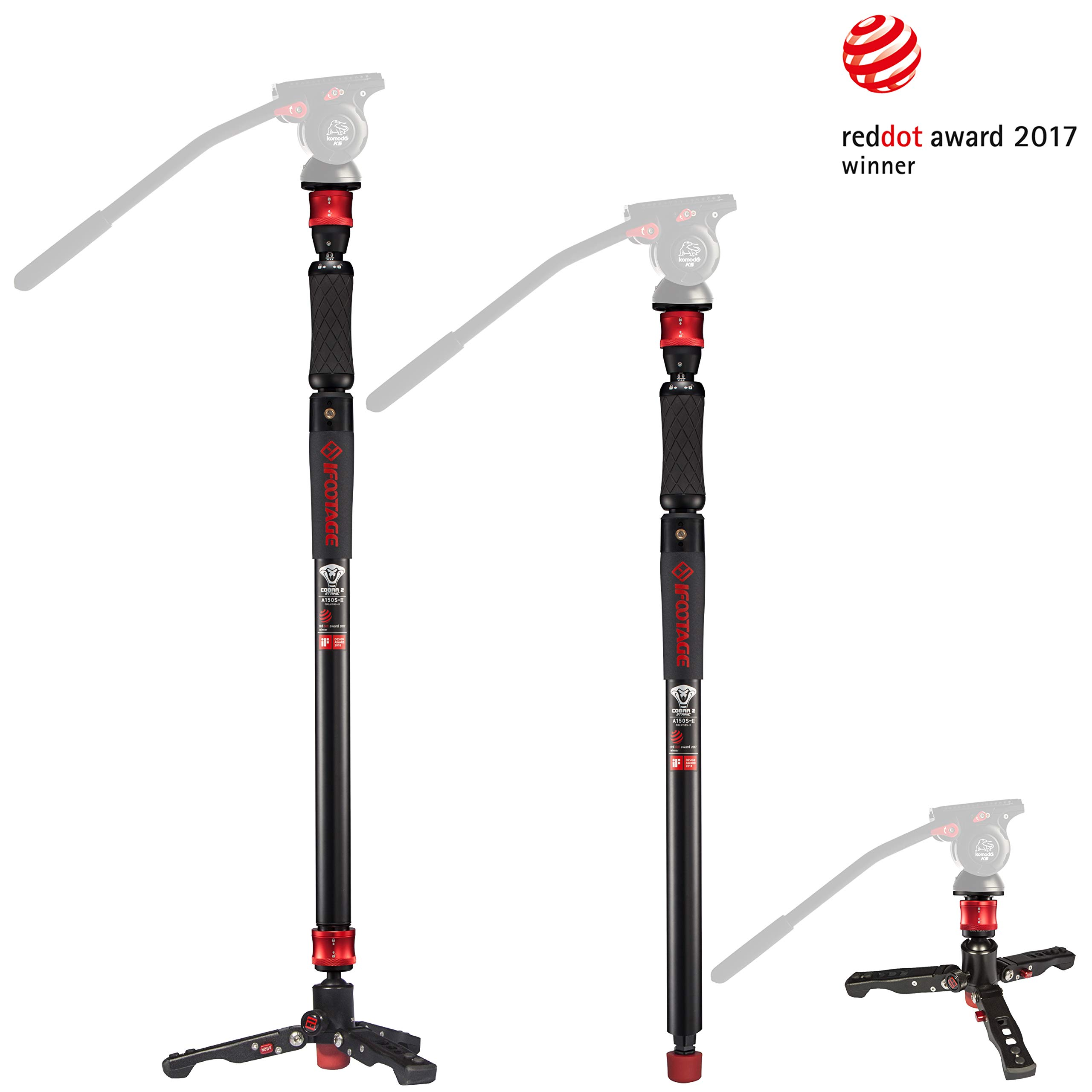 IFOOTAGE Camera Monopod Professional 59'' Aluminum Telescoping Video Monopods with Tripod Stand Compatible for DSLR Cameras and Camcorders by IFOOTAGE