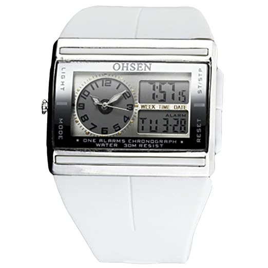 timeconcept día fecha Detener cronómetro alarma Digital analógico para la práctica de deportes reloj de pulsera Nuevo Color Blanco: Amazon.es: Relojes