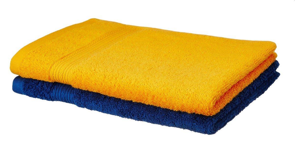 Amazon price history for Amazon Brand - Solimo 100% Cotton 2 Piece Hand Towel Set, 500 GSM (Sunshine Yellow and Iris Blue)