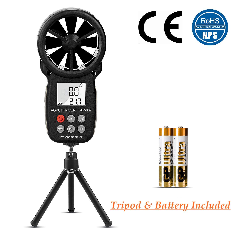 Anémomètre numérique Portable LCD de Vitesse du Vent pour mesurer la Vitesse du Vent, la température et Le Refroidissement du Vent avec rétroéclairage et Max/Min.