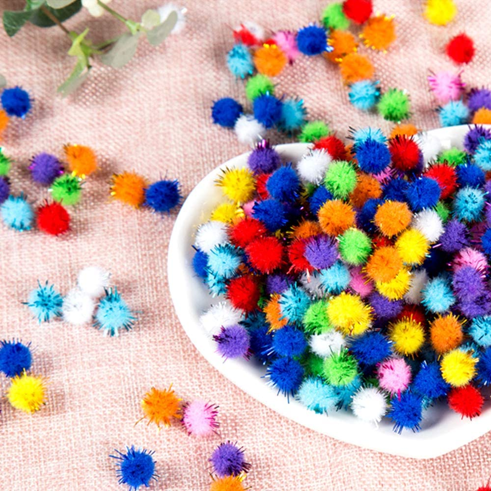 1cm Nuluxi Mini Pom Poms Multi Colours Fluffy Plush Ball Mini Fluffy Pompoms DIY Craft Glitter Poms Glitter Poms Sparkle Balls Handmade Pom Pom Balls Suitable for DIY Craft Making /& Hobby Supplies