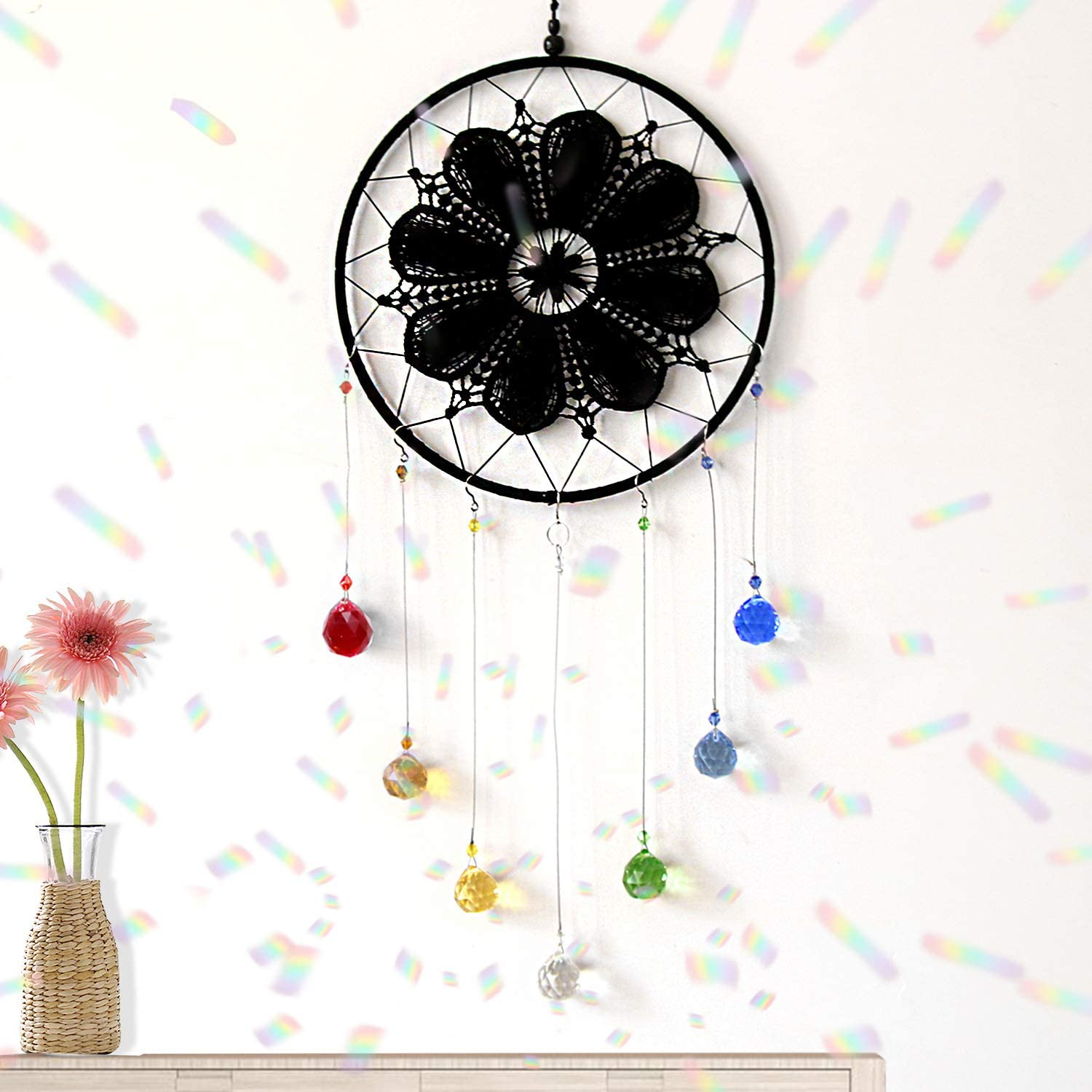 Cosylove Clear Cut Crystal Ball Prisms Chandelier Sun Catcher, Hanging Crystals Ornament Home Garden Office Decoration with Gift Box,Christmas Wedding Pendant Round Beautiful Dark Dreamcatcher