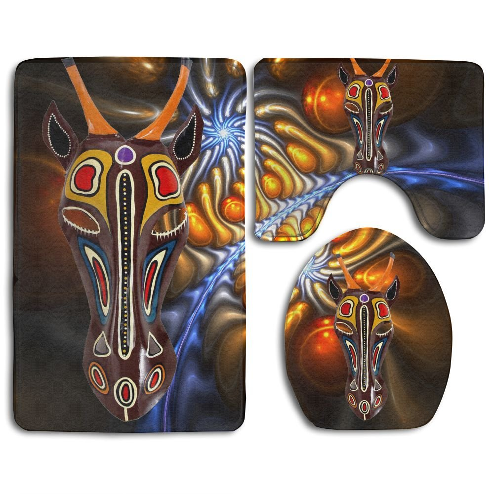 African Animal Masks Skidproof Toilet Seat Cover Bath Mat Lid Cover
