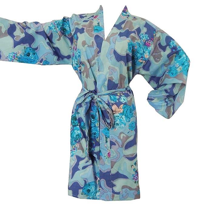 Floral azul batas de algodón cruce del traje de dama regalo abrigo del balneario Preparándose: Amazon.es: Ropa y accesorios