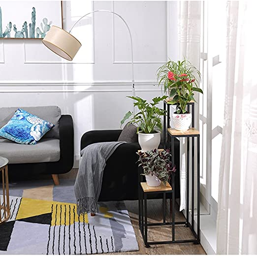 Flower rack Maceta de flores de madera maciza para modelar escalera negra, soporte de flores de hierro multicapa para balcón, estante para macetas, soporte de suelo rectangular para flores: Amazon.es: Hogar