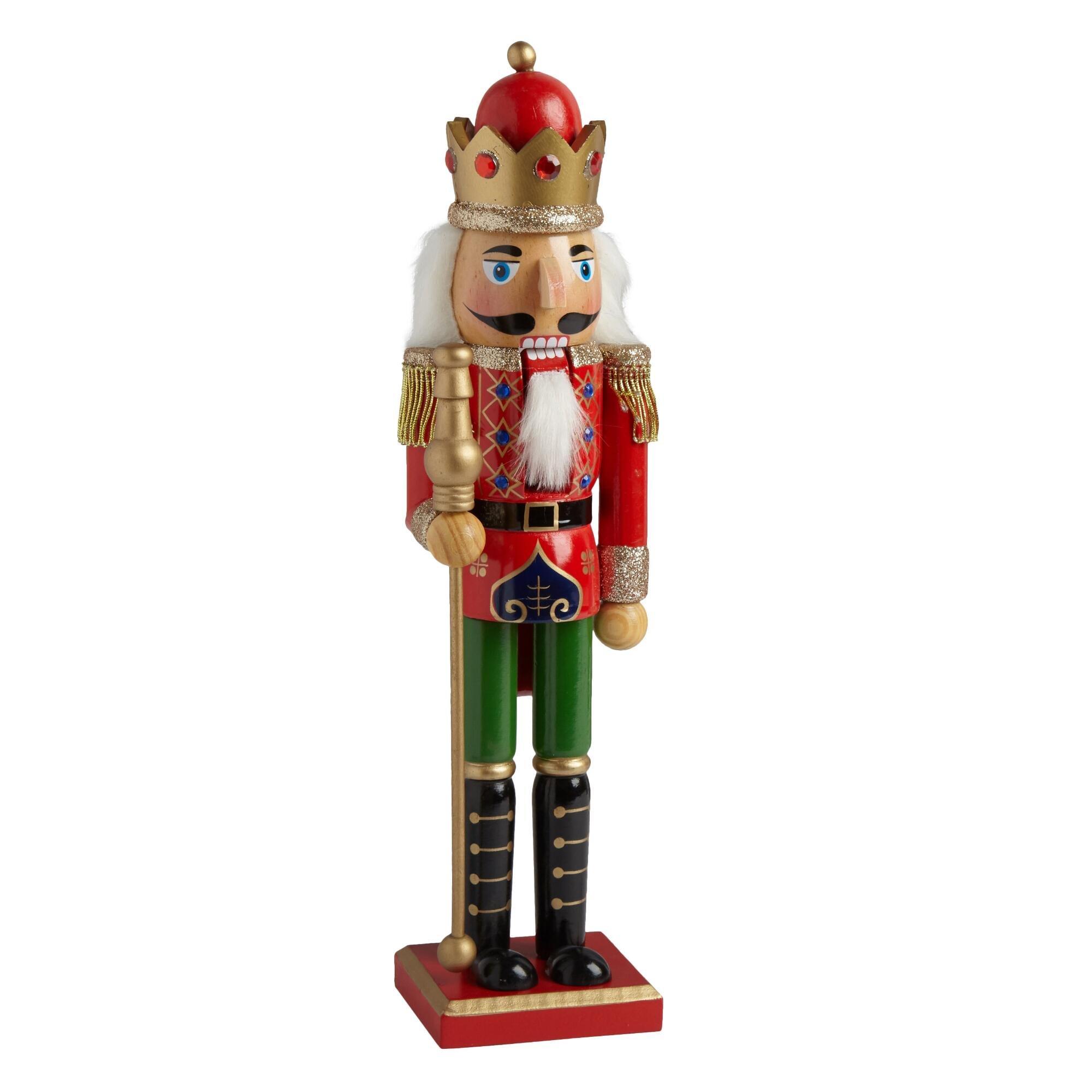 Nantucket Home Wooden Christmas Nutcracker Decor, 15-Inch, Red Uniform King