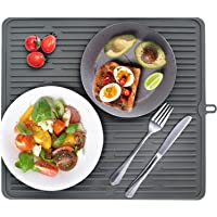 JEMYCO Dish Drying Mat (FDA Food-Grade Silicone), Drying Mat for Kitchen Counter, Hot Pads for Kitchen, Silicone Dish…
