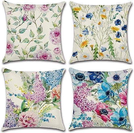 Cuscini Per Il Divano.Gspirit Peonia Crisantemo 4 Pack Cuscini Per Divani Decorativo