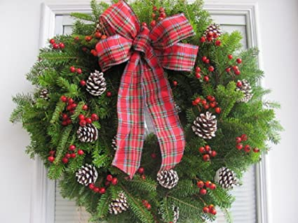 fresh christmas wreath balsam and red berry with plaid bow from maine live holiday door wreath