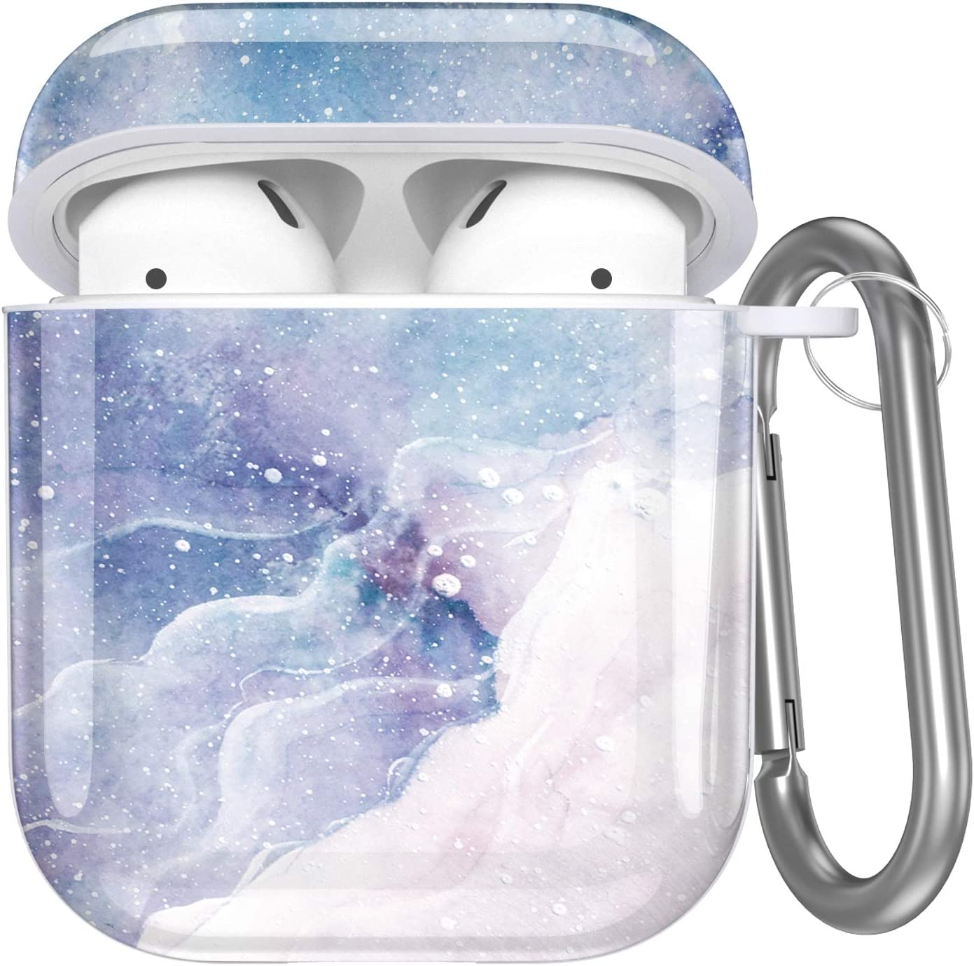 Hamile Compatible with Airpods Case Cover Cute Protective Case for Apple Airpods 2 & 1, Fadeless Pattern Shockproof Hard Case Cover with Portable Keychain for Girls Women Men - Dream Snow