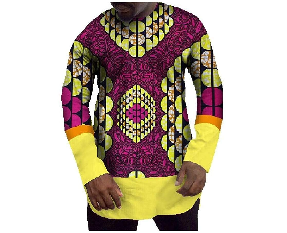 YUNY Men Color Conjoin Cotton Comfort African Style Tee Shirt Pattern10 M