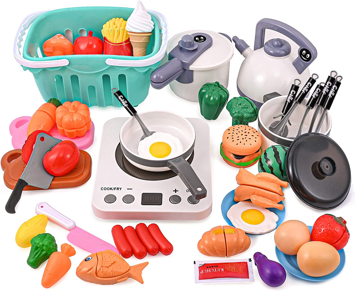 PRAABDC Kids Pretend Play Kitchen Accessories Set Toys -46 Pcs Kids Kitchen Toys Set for Kids with Electronic Induction Cooktop,Pressure Pot,Cooking Utensils,Toy Cutlery,Cut Play Food,Shopping Basket