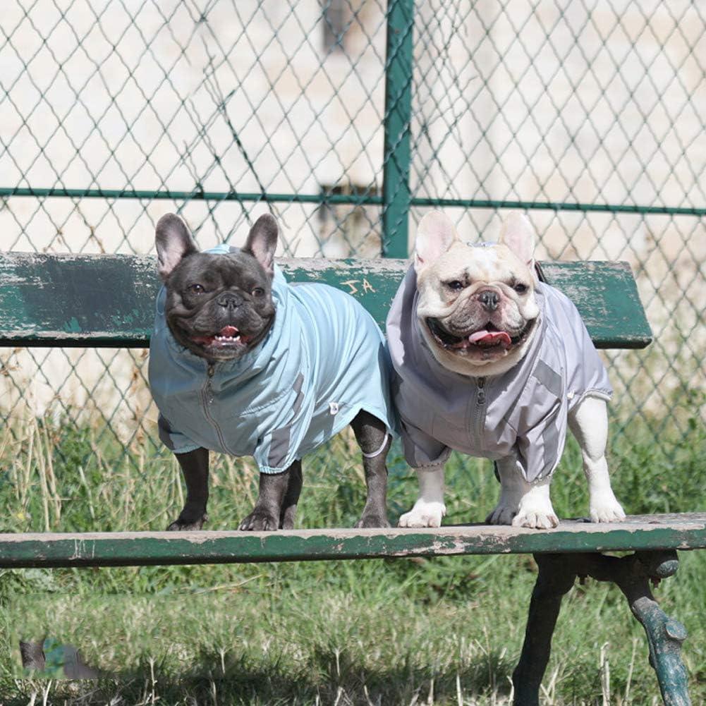 fushida Chubasquero para Perro con Cremallera y Botones Reflectantes Elegante Abrigo de Lluvia para Perro con cord/ón Ajustable Capucha extra/íble Resistente al Agua y a la Lluvia