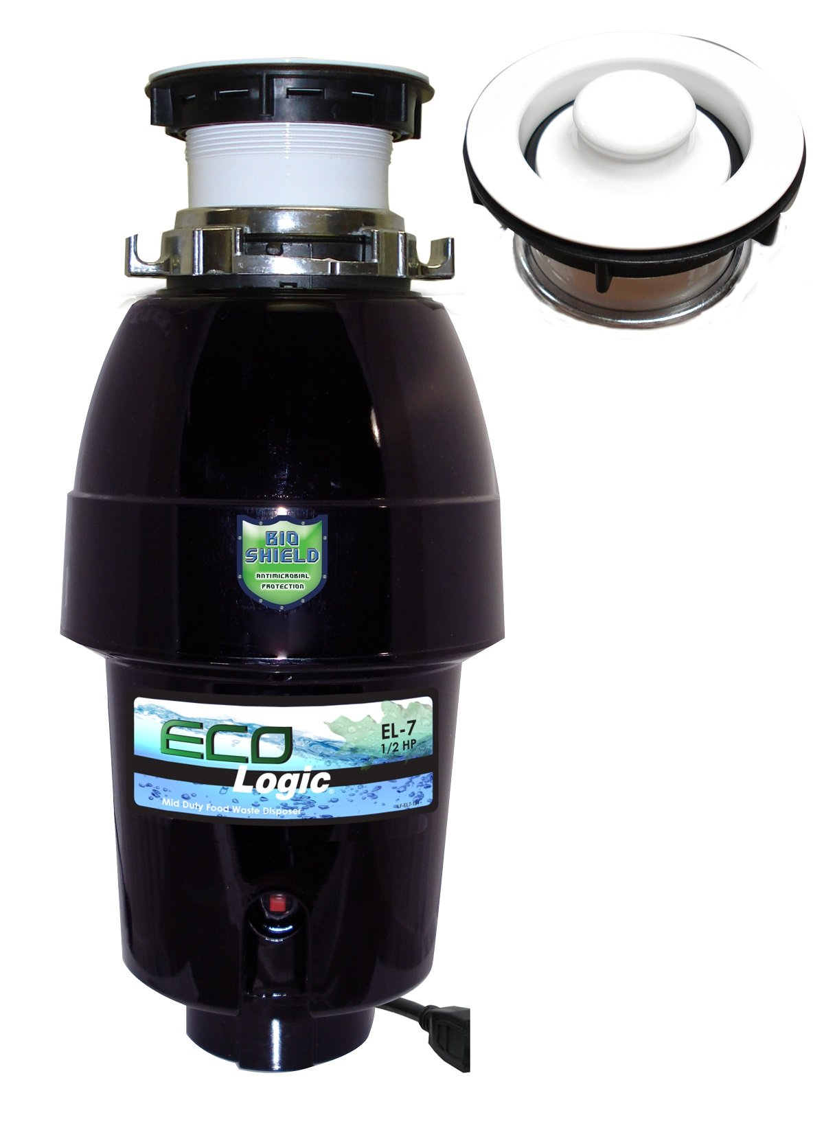 Eco Logic EL-7-DS-WH 7 Designer Series Food Waste Disposer with White Sink Flange, 1/2 HP by Eco Logic