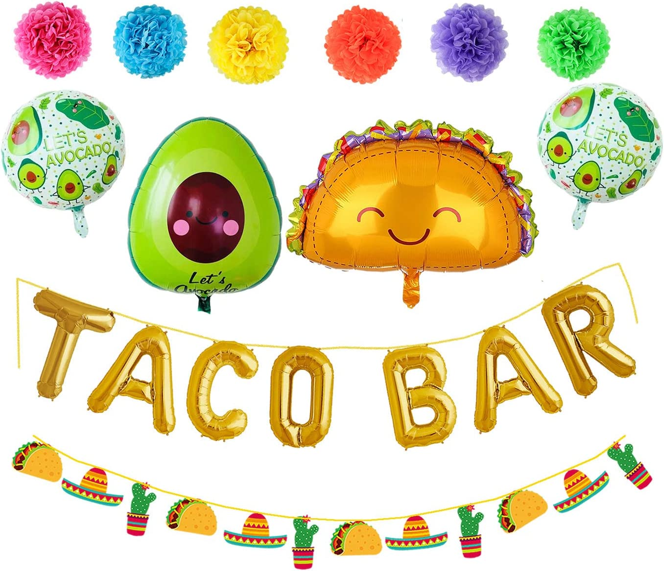 Taco Bar Party Decorations Balloons Banner Sign Garland Pom Poms for Fiesta Mexican Party Birthday Baby Shower Wedding Bridal Shower Engagement Party